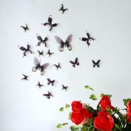 Sada 18 černých adhezivních 3D samolepek Ambiance Butterflies Chic