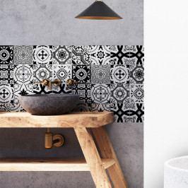 Sada 16 nástěnných samolepek Ambiance Azulejos Modern Black and White Shade, 10 x 10 cm