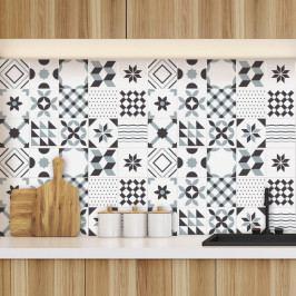 Sada 60 nástěnných samolepek Ambiance Geometric Tiles Shade of Gray, 10 x 10 cm