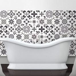 Sada 60 nástěnných samolepek Ambiance Rosettes Shade of Gray, 10 x 10 cm