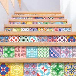 Sada 60 dekorativních samolepek na stěnu Ambiance Colorful, 15 x 15 cm