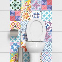 Sada 24 dekorativních samolepek na stěnu Ambiance Cheerful, 15 x 15 cm