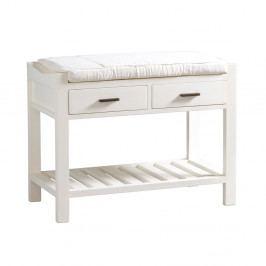Bílá lavice s 2 zásuvkami ze dřeva mindi Santiago Pons Idaho