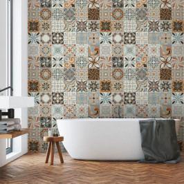 Sada 30 nástěnných samolepek Ambiance Wall Decal Cement Tiles Bali, 15 x 15 cm