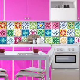 Sada 24 nástěnných samolepek Ambiance Wall Decal Cement Tiles Color Cartagena, 20 x 20 cm