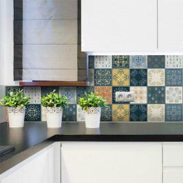 Sada 15 nástěnných samolepek Ambiance Wall Stickers Tiles Azulejos Rio Cuarto, 15 x 15 cm
