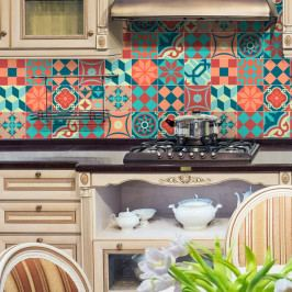 Sada 16 nástěnných samolepek Ambiance Wall Stickers Tiles Azulejos Colorful Vintage Style, 10 x 10 cm