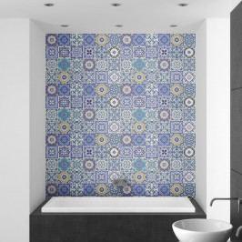 Sada 24 nástěnných samolepek Ambiance Wall Stickers Tiles Flamenco, 10 x 10 cm