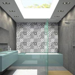 Sada 9 nástěnných samolepek Ambiance Wall Decal Tiles Azulejos Shades of Gray Sotchi, 15 x 15 cm