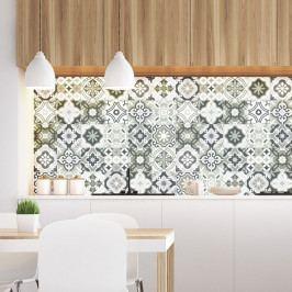 Sada 30 nástěnných samolepek Ambiance Wall Decal Cement Tiles Shades of Gray Oslo, 15 x 15 cm