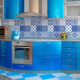 Sada 9 nástěnných samolepek Ambiance Wall Decals Blue Santorini Tiles, 20 x 20 cm