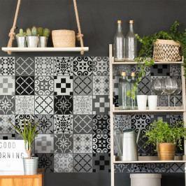 Sada 60 nástěnných samolepek Ambiance Wall Decal Cement Tiles Azulejos Pedro, 10 x 10 cm