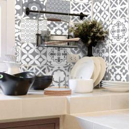 Sada 30 nástěnných samolepek Ambiance Wall Stickers Cement Tiles Azulejos Evra, 10 x 10 cm