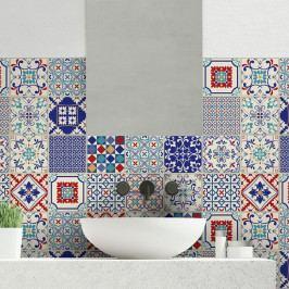 Sada 24 nástěnných samolepek Ambiance Wall Decal Cement Tiles Azulejos Sofiana, 10 x 10 cm