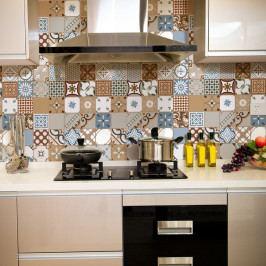 Sada 30 nástěnných samolepek Ambiance Wall Stickers Cement Tiles Azulejos Estefania, 10 x 10 cm