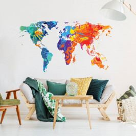 Nástěnná samolepka Ambiance Wall Decal Worlds Map Design Watercolor, 40 x 70 cm