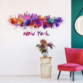 Nástěnná samolepka Ambiance Wall Decal New York Design Watercolor, 60 x 140 cm