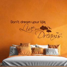 Černá nástěnná samolepka Ambiance Live Your Dreams Wall Decal, 55 x 110 cm
