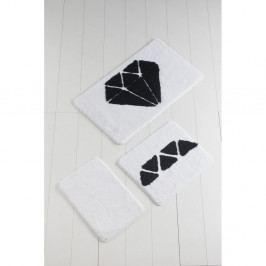 Sada 3 černo-bílých koupelnových předložek Diamond