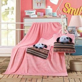 Růžová dětská deka z mikrovlákna DecoKing Cuties Puppy, 110 x 160 cm