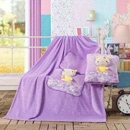 Fialová dětská deka z mikrovlákna DecoKing Cuties Pig, 110 x 160 cm