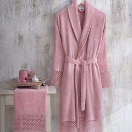 Set růžového dámského županu velikosti S/M a ručníku Bathrobe Set Lady