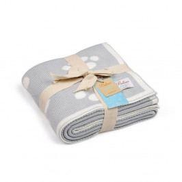 Světle modrá bavlněná dětská deka Baby Ecru Paws, 90 x 90 cm