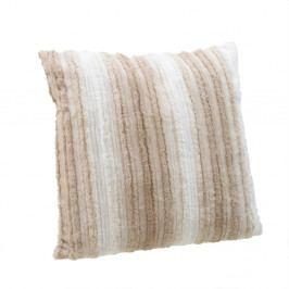 Bílo-hnědý polštář zumělé kožešiny InArt, 60x60cm