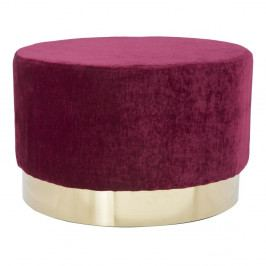 Vínově červený puf s podstavcem ve zlaté barvě Mauro Ferretti Goldy