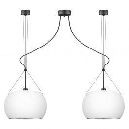 Bílé závěsné svítidlo se 2 svítidly a detaily ve stříbrné barvě Sotto Luce MYOO Elementary