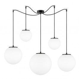 Bílé závěsné svítidlo s 5 stínidly a objímkou v černé barvě Sotto Luce TSUKI
