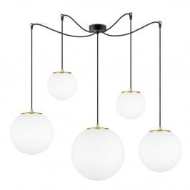 Bílé závěsné svítidlo s 5 stínidly a objímkou ve zlaté barvě Sotto Luce TSUKI