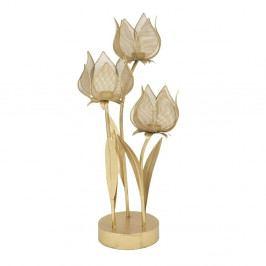 Železný svícen na 3 svíčky ve zlaté barvě Mauro Ferretti Flowery, výška 66 cm