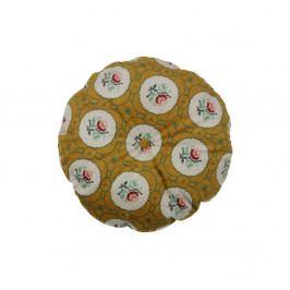 Okrově žlutý dekorativní kulatý polštář BePureHome Granny, ø45cm