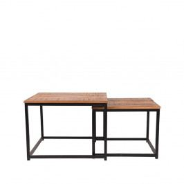 Sada 2 odkládací stolků zmangového dřeva LABEL51 Couple, ⌀50cm a⌀60cm