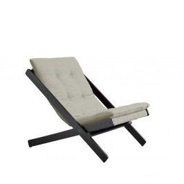 Černé skládací křeslo z bukového dřeva Karup Design Boogie Black/Linen