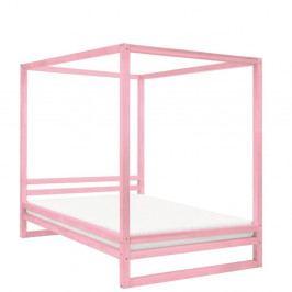 Růžová dřevěná dvoulůžková postel Benlemi Baldee, 200x160cm