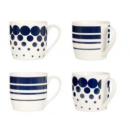Sada 4 modrých hrnků Premier Housewares Dots Lines, 380ml