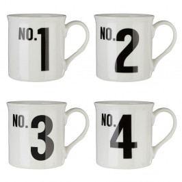Sada 4 hrnků z kostního porcelánu Premier Housewares Numbers, 342 ml