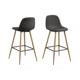 Černá barová židle s kovovým podnožím v dekoru dubu Actona Wilma