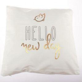 Bílý povlak na polštář Dakls Hello New Day, 45 x 45 cm