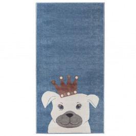 Tmavě modrý koberec s motivem psa KICOTI Dog, 160 x 230 cm