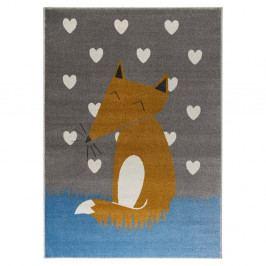 Šedý koberec s motivem lišky KICOTI Grey, 160 x 230 cm