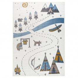 Světlý koberec s indiánským motivem KICOTI Light Pearl, 200 x 280 cm
