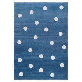Modrý koberec s puntíky KICOTI Peas, 80 x 150 cm