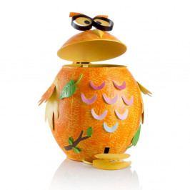 Oranžový železný odpadkový koš ve tvaru sovičky Brandani,10l