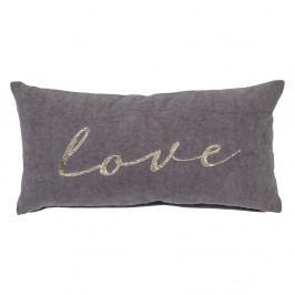 Šedý bavlněný polštář Bloomingville Love,60x30cm
