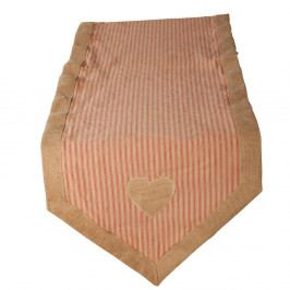 Pruhovaný běhoun z bavlny a lnu Antic Line Peach
