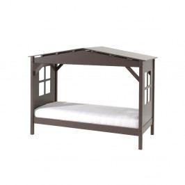 Šedá dětská postel Vipack Pino Cabin, 90x200cm