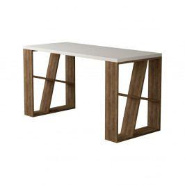 Pracovní stůl v dekoru dubového dřeva s bílou deskou Honey